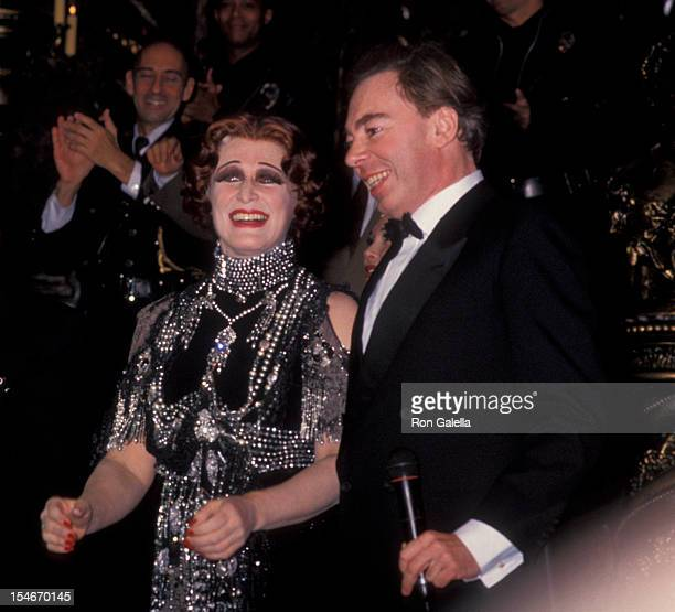 Composer Andrew Lloyd Webber and actress Glenn Close attending the opening of 'Sunset Boulevard' on November 17 1994 at the Minskoff Theater in New...