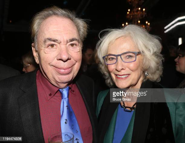 """Composer Andrew Lloyd Webber and Betty Buckley pose at the after party for The World Premiere of the new film """"Cats"""" based on the Andrew Lloyd Webber..."""