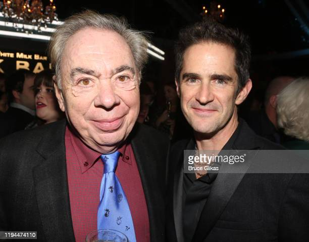 """Composer Andrew Lloyd Webber and Choreographer Andy Blankenbuehler pose at the after party for The World Premiere of the new film """"Cats"""" based on the..."""