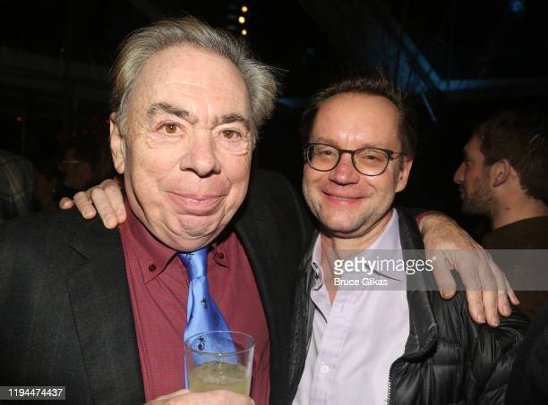 """Composer Andrew Lloyd Webber and Michael Riedel pose at the after party for The World Premiere of the new film """"Cats"""" based on the Andrew Lloyd..."""