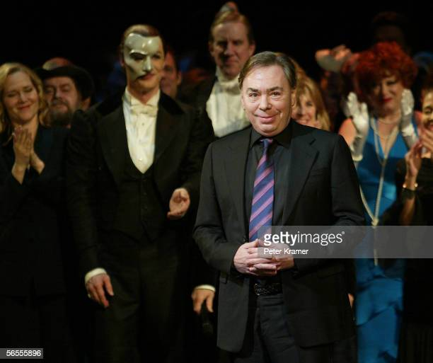 Composer Andrew Lloyd Webber at the curtain call for The Phantom of the Opera which has become the longest running show in Broadway history...