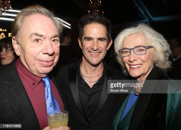 Composer Andrew Lloyd Webber, Choreographer Andy Blankenbuehler and Betty Buckley pose at the after party for The World Premiere of the new film...