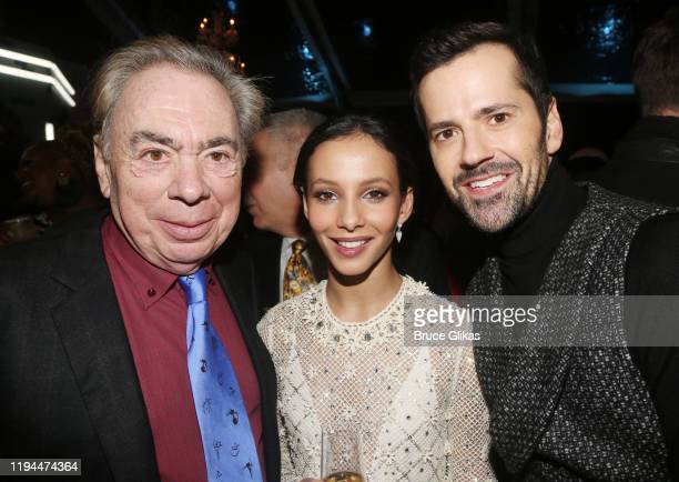"""Composer Andrew Lloyd Webber, Francesca Hayward and Robert Fairchild pose at the after party for The World Premiere of the new film """"Cats"""" based on..."""