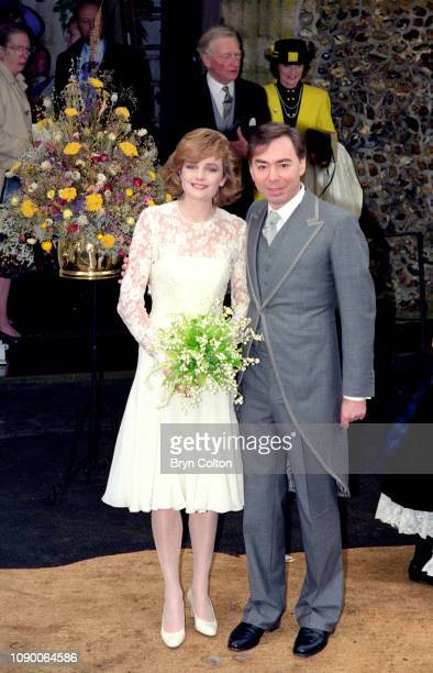 Composer Andrew Lloyd Webber with his wife Madeleine Gurdon following their marriage blessing ceremony at Saint Botolph's Church in Burgh Suffolk UK...