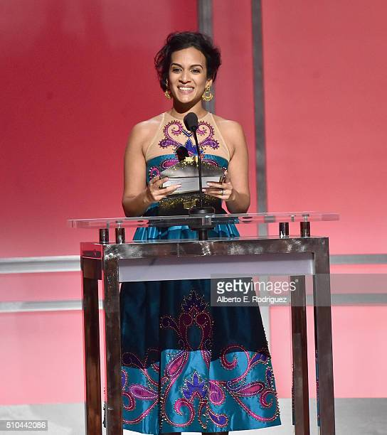 Composer Anoushka Shankar speaks onstage during the GRAMMY PreTelecast at The 58th GRAMMY Awards at Microsoft Theater on February 15 2016 in Los...