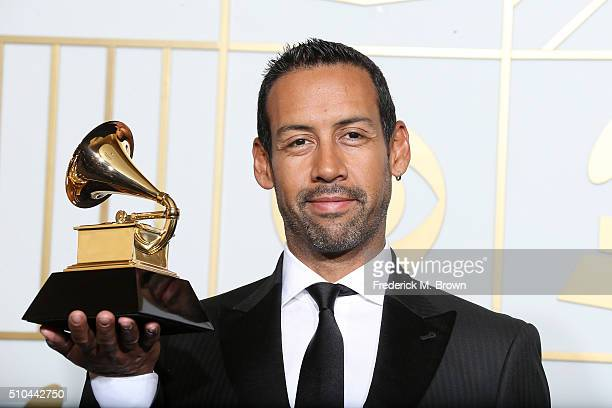 Composer Antonio Sanchez winner of Best Score Soundtrack for Visual Media for Birdman poses in the press room during The 58th GRAMMY Awards at...