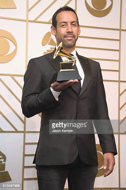 Composer Antonio Sanchez winner of Best Score Soundtrack for Visual Media for 'Birdman' poses in the press room during The 58th GRAMMY Awards at...