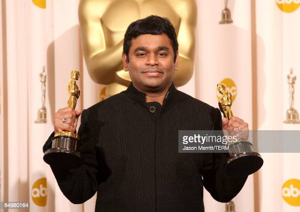 Composer AR Rahman for �Slumdog Millionaire� poses with the award for Achievement in Music Written for Motion Pictures in the press room at the 81st...
