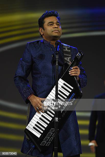 Composer AR Rahman performs during a keynote address by Intel Corp CEO Brian Krzanich at CES 2016 at The Venetian Las Vegas on January 5 2016 in Las...