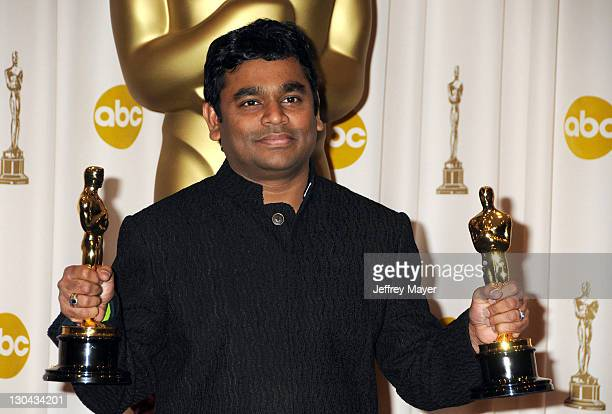 Composer AR Rahman poses in the press room at the 81st Academy Awards at The Kodak Theatre on February 22 2009 in Hollywood California