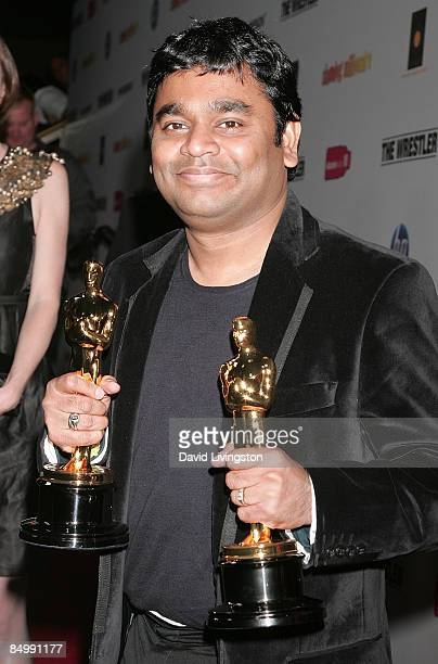 Composer AR Rahman poses with his two Academy Awards at the Fox Searchlight official Slumdog Millionaire/The Wrestler post Oscar party at ONE Sunset...