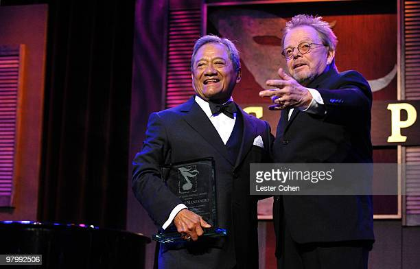 Composer Armando Manzanero and ASCAP President Chairman of the Board Paul Williams speak onstage at 18th Annual ASCAP Latin Music Awards at The...