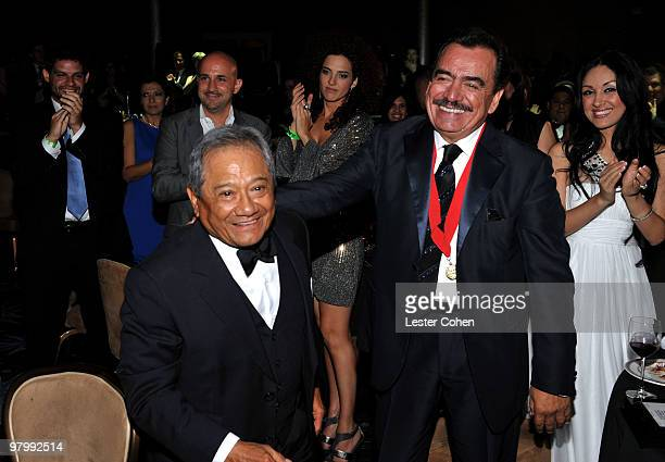 Composer Armando Manzanero and songwriter Joan Sebastian attend 18th Annual ASCAP Latin Music Awards at The Beverly Hilton hotel on March 23 2010 in...