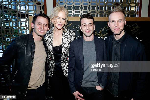 Composer Benj Pasek actress Nicole Kidman composers Justin Hurwitz and Justin Paul attend Life is Good at GOLD MEETS GOLDEN Event at Equinox on...