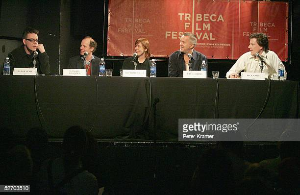 Composer Blake Leyh composer Michael Rohatyn musician Suzanne Vega actor Tim Robbins and moderator Rick Karr speak at 'The Soundtrack' panel part of...