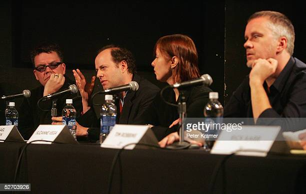 Composer Blake Leyh composer Michael Rohatyn musician Suzanne Vega and actor Tim Robbins speak at 'The Soundtrack' panel part of the Tribeca Talks...