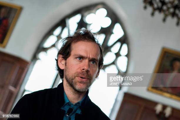 US composer Bryce Dessner speaks during an interview ahead of rehearsing for Voy a Dormir with the Orchestra of St Lukes at Columbia University in...