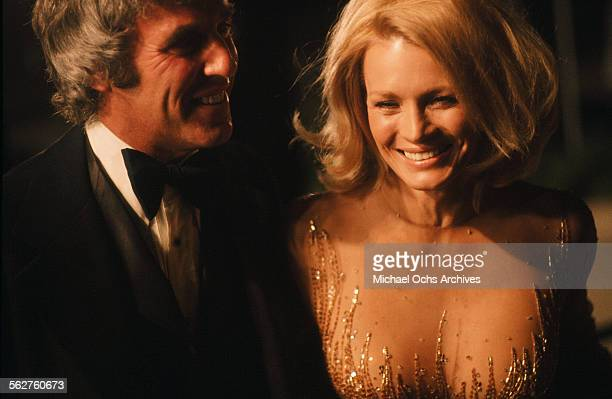 Composer Burt Bacharach with wife actress Angie Dickinson arrive to the 48th Academy Awards at Dorothy Chandler Pavilion in Los AngelesCalifornia