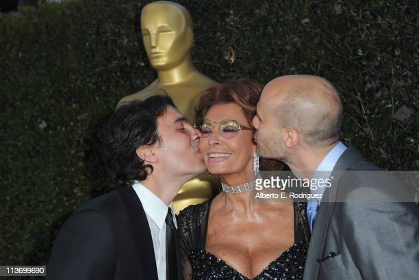 Composer Carlo Ponti actress Sophia Loren and director Eduardo Ponti arrive to The Academy of Motion Picture Arts and Sciences' tribute to Sophia...