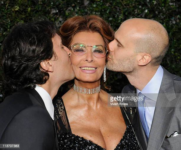 Composer Carlo Ponti and director Edoardo Ponti kiss actress Sophia Loren at AMPAS Tribute To Sophia Loren at AMPAS Samuel Goldwyn Theater on May 4...