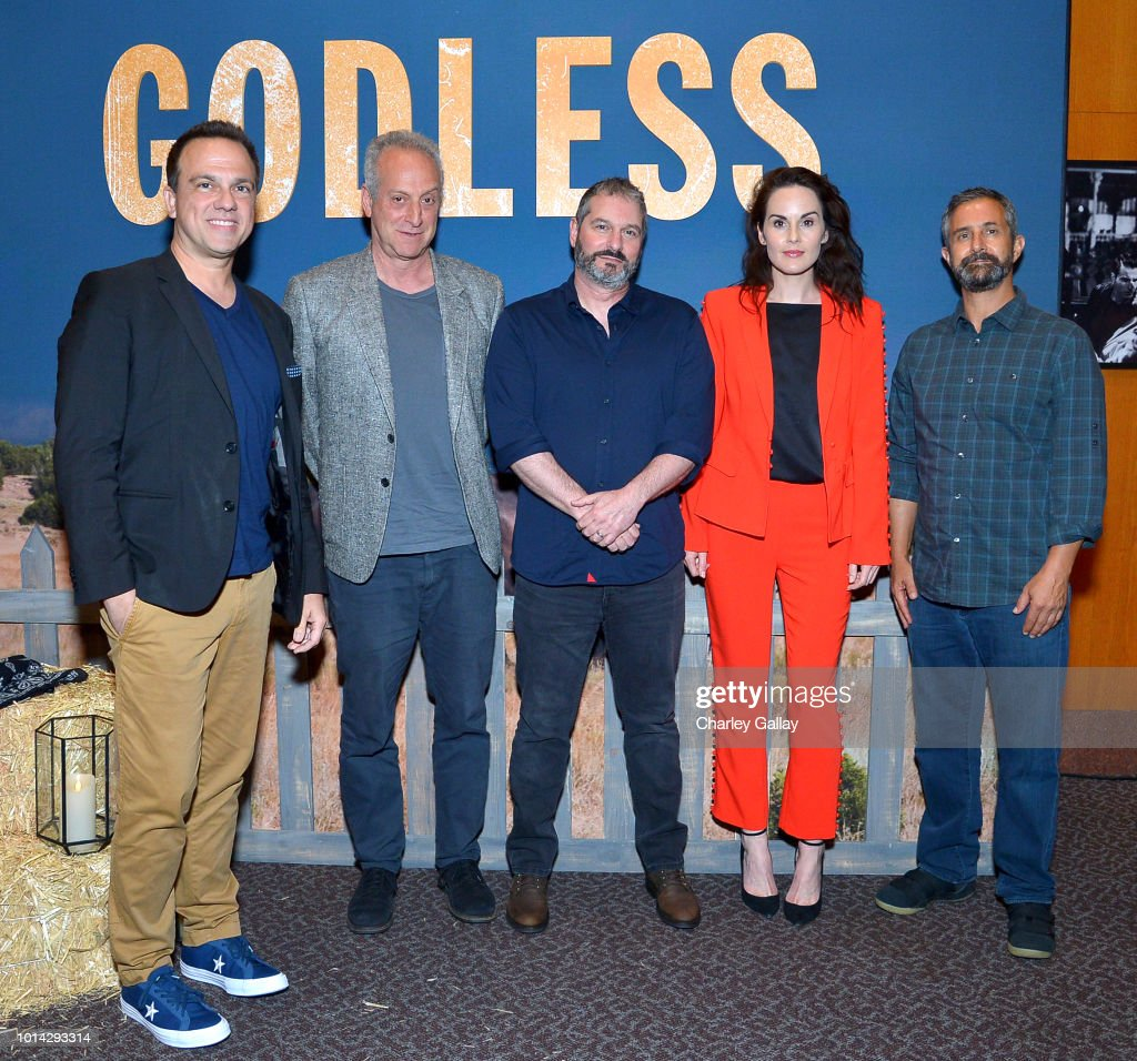Composer Carlos Rafael Rivera, Executive Producer Casey Silver, Writer/Director Scott Frank, Actress Michelle Dockery and Cinematographer Steven Meizler attend Netflix Celebrates 12 Emmy Nominations For 'Godless' at DGA Theater on August 9, 2018 in Los Angeles, California.
