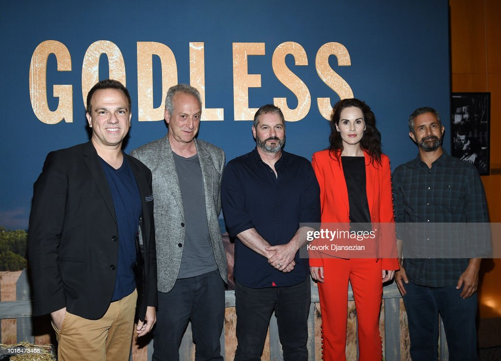 Composer Carlos Rafael Rivera, Executive Producer Casey Silver, Creator/Writer/Director/Executive Producer Scott Frank, Actress Michelle Dockery, and Cinematographer Steven Meizler attend Netflix Celebrates 12 Emmy Nominations For 'Godless' at DGA Theater on August 9, 2018 in Los Angeles, California.