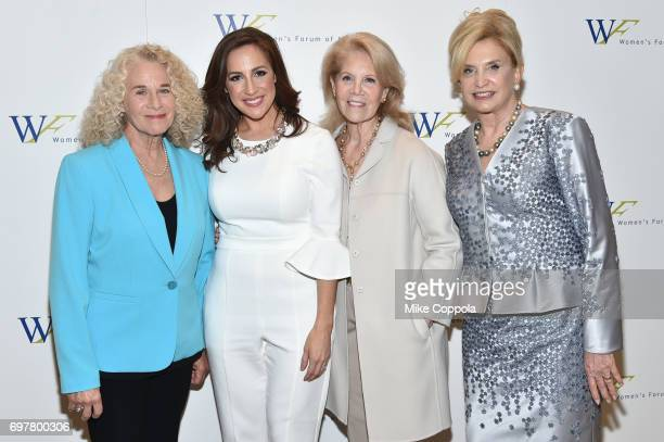 Composer Carole King Teresa Priolo Daryl Roth and Congresswoman Carolyn B Maloney attend The 7th Annual Elly Awards at The Plaza Hotel on June 19...