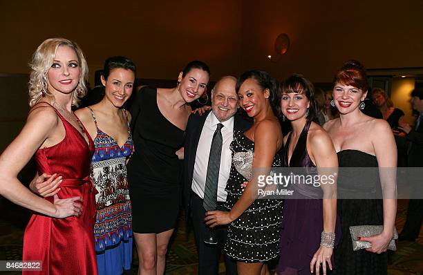Composer Charles Strouse pose with cast members Angie Schworer, Beth Johnson Nicely, Jennifer Werner, Ariel Reid, Sabra Lewis and Roxane Barlow...