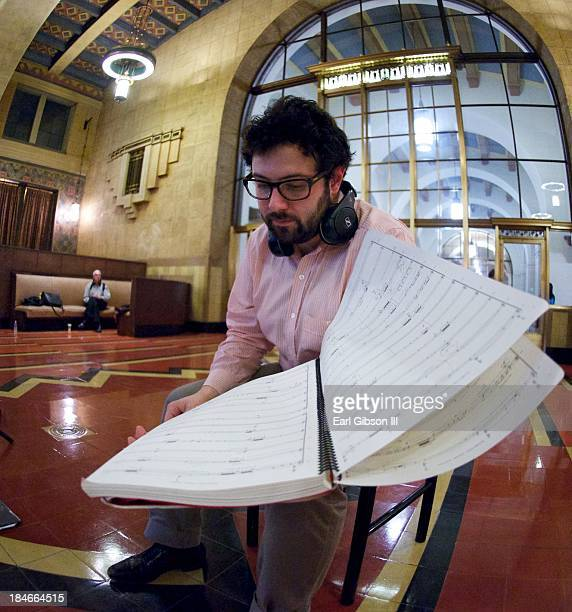 Composer Christopher Cerrone attends the world premiere of opera 'Invisible Cities' at Union Station on October 14 2013 in Los Angeles California