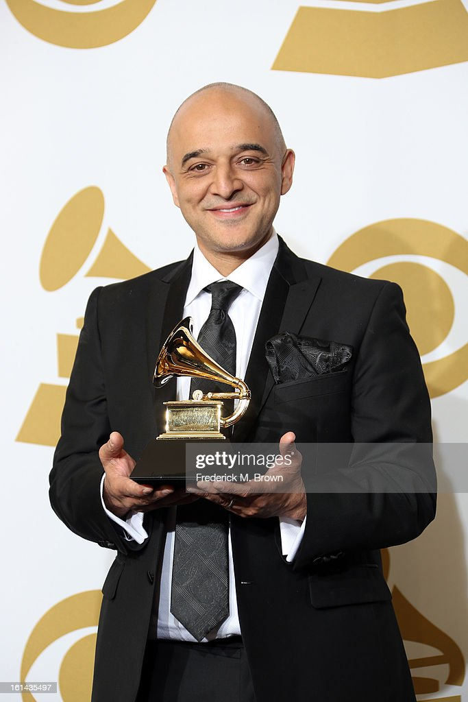 Composer Composer Omar Akram, winner of Best New Age Music for 'Echoes of Love' poses in the press room at the 55th Annual GRAMMY Awards at Staples Center on February 10, 2013 in Los Angeles, California.