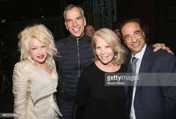 Composer Cyndi Lauper Director/Choreographer Jerry Mitchell Producer Daryl Roth and Producer Hal Luftig pose backstage as the hit musical Kinky Boots...