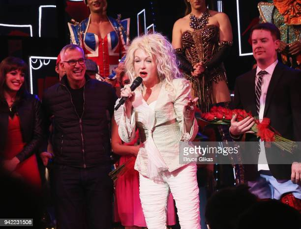 Composer Cyndi Lauper makes a speech and celebrates onstage as the hit musical Kinky Boots celebrates it's 5th Anniversary on Broadway at The...
