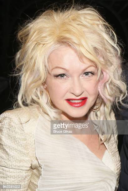 Composer Cyndi Lauper poses backstage as the hit musical Kinky Boots celebrates it's 5th Anniversary on Broadway at The Hirshfeld Theatre on April 4...