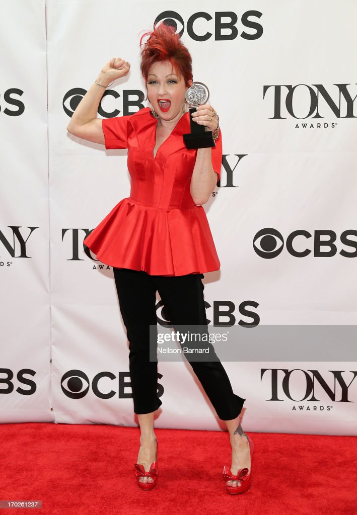 Composer Cyndi Lauper, winner of the award for Best Original Score (Music and/or Lyrics) Written for the Theatre 'Kinky Boots' poses in The 67th Annual Tony Awards at Radio City Music Hall on June 9, 2013 in New York City.