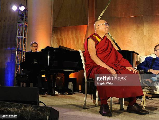 Composer David Foster and His Holiness The 14th Dalai Lama attend The Lourdes Foundation 'Leadership in the 21st Century' Event with His Holiness the...