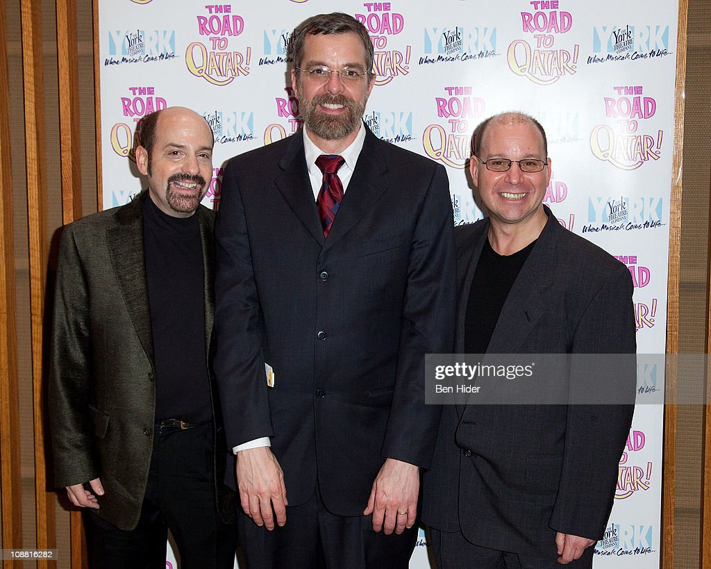 Composer David Krane, Director Phillip George and Composer Stephen Cole attend the Off-Broadway opening night of 'The Road to Qatar' at The York Theatre at Saint Peter's on February 3, 2011 in New York City.