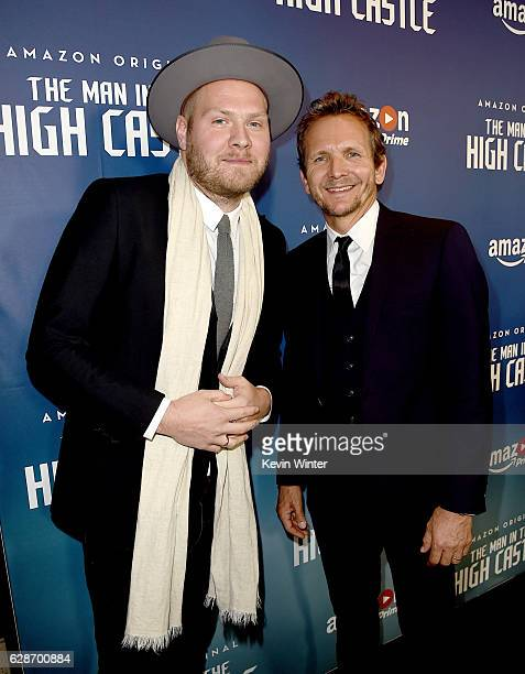 Composer Dominic Lewis and actor Sebastian Roche arrive at the premiere screening of Amazon's Man In The High Castle Season 2 at the Pacific Design...
