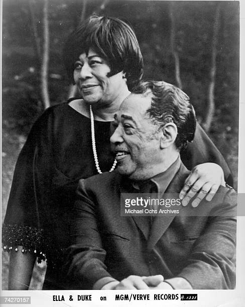 Composer Duke Ellington and singer Ella Fitzgerald pose for a portrait to publicize the release of 'Ella Sings The Duke Ellington Songbook' which...