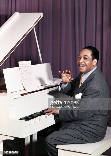 Composer Duke Ellington performs at the piano in an image that was created using the Carbro TRI-COLOR CARBRO camera process on May 28, 1947.