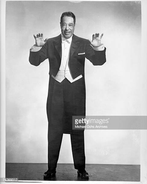 Composer Duke Ellington poses for portrait session wearing a tuxedo with coattails in circa 1958