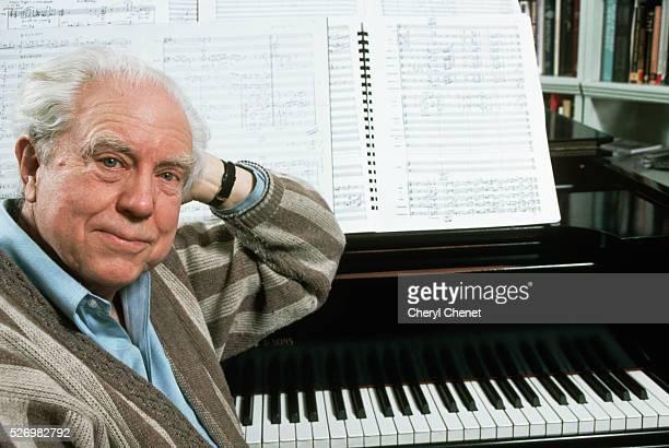 Composer Elliot Carter at Piano