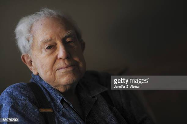 Composer Elliott Carter poses at a portrait session at his home in New York City.
