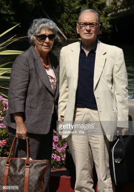 Composer Ennio Morricone and his wife Maria Travia arrive ahead of the 66th Venice International Film Festival on September 1 2009 in Venice Italy