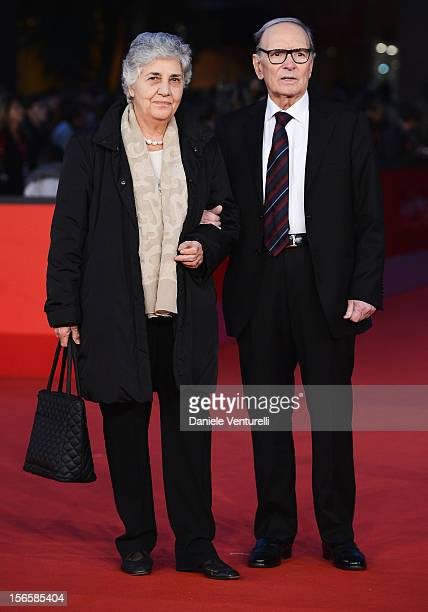 Composer Ennio Morricone and his wife Maria Travia attend the Giuseppe Tornatore Ogni Film Un'Opera Prima Premiere during the 7th Rome Film Festival...