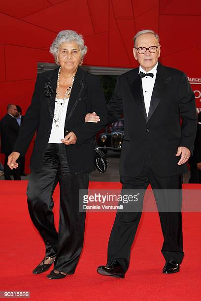 Composer Ennio Morricone and his wife Maria Travia attend the Opening Ceremony and Baaria Red Carpet at the Sala Grande during the 66th Venice Film...