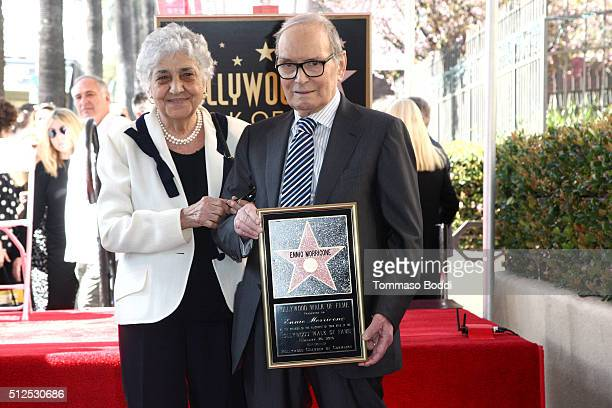 Composer Ennio Morricone and Maria Travia attend a ceremony honoring composer Ennio Morricone wtih a star on The Hollywood Walk Of Fame on February...