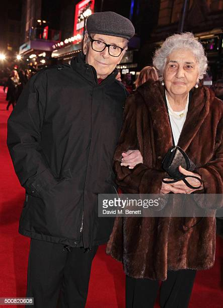 Composer Ennio Morricone and Maria Travia attend the European Premiere of The Hateful Eight at Odeon Leicester Square on December 10 2015 in London...