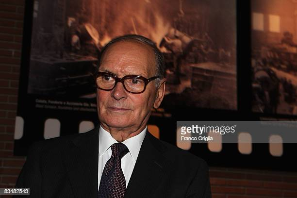 Composer Ennio Morricone attends the 'Resolution 819' Premiere during the 3rd Rome International Film Festival held at the Auditorium Parco della...