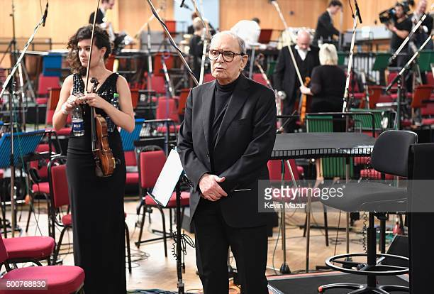 Composer Ennio Morricone is seen during a Live Recording for the H8ful Eight Soundtrack at Abbey Road Studios on December 8 2015 in London England