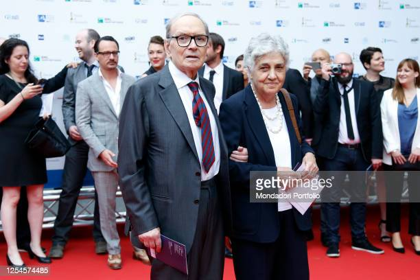 Composer Ennio Morricone with his wife Maria Travia during the David di Donatello Prize 2015 at Teatro Olimpico Rome June 12th 2015